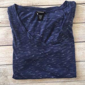Torrid V-neck Blue & White Shirt